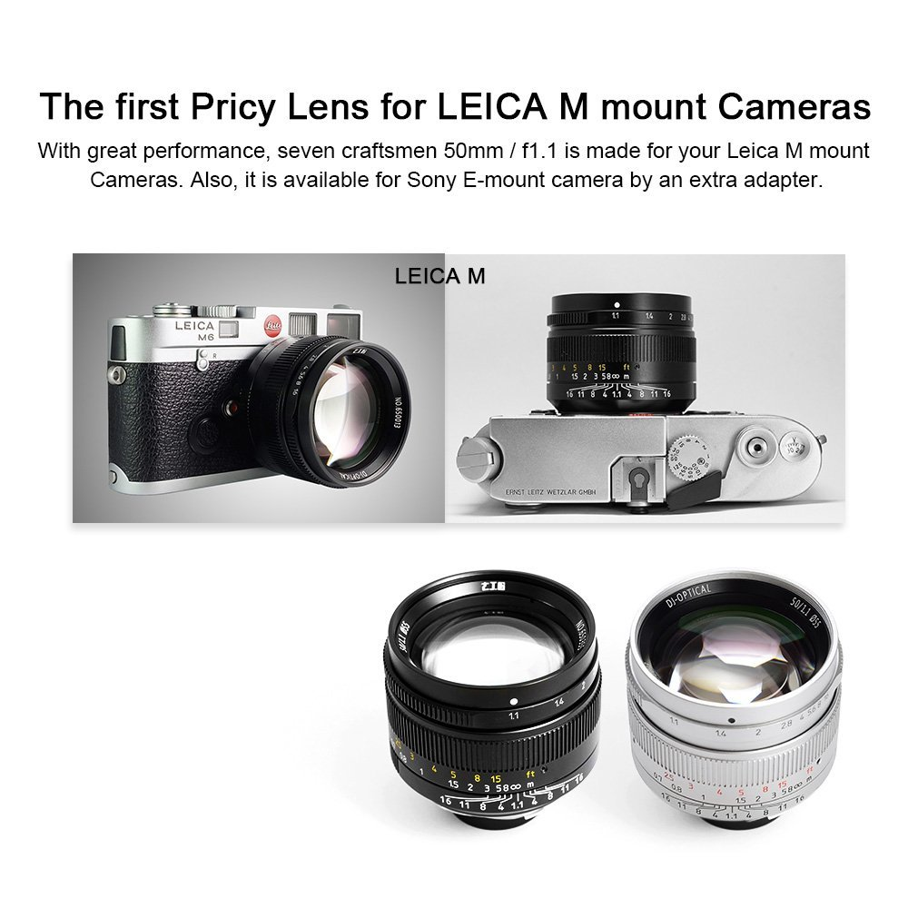 lensa 7artisans 50mm f1.1 for leica m black silver